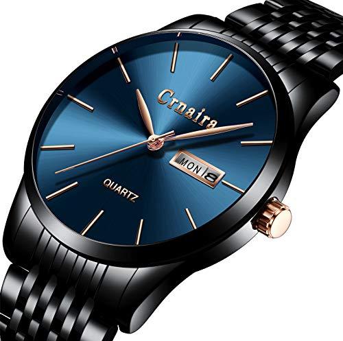 Montres pour hommes,Simple Mode Acier inoxydable Classique Montre à quartz Calendrier Imperméable Montre Bracelet Bleu Noir