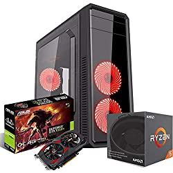 Pc Desktop gaming completo Ryzen 5 1400 3.40GHz QuadCore/Asus Gtx 1050 Cerberus Gaming 4gb Ddr5 / Ram Ddr4 8gb/ Hdd 1tb / Windows 10/ Computer da gaming assemblato/Pc gaming i5