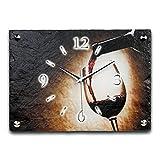 Wein Luxus Designer Wanduhr Funkuhr aus Schiefer *Made in Germany leise ohne ticken WS164FL
