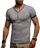 LEIF NELSON Herren T-Shirt V-Ausschnitt Sweatshirt Longsleeve Basic Shirt Hoodie Slim Fit LN1390; Größe XL, Anthrazit