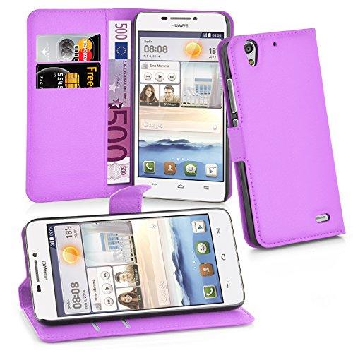 Cadorabo Hülle für Huawei Ascend G630 Hülle in Mangan Violett Handyhülle mit Kartenfach und Standfunktion Case Cover Schutzhülle Etui Tasche Book Klapp Style Mangan-Violett