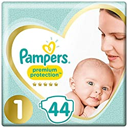 Pampers Premium Protection couches New Baby Taille 1 (2-5 kg), Lot de 2 (2 x 44 pièces)