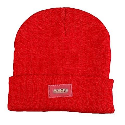 Ebilun 5LED Strick Warm Hut Hände Freie Taschenlampe Cap für Klettern Angeln Radfahren Rot