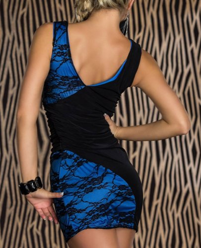 E-Girl Newfashioned Matching Colour Près du corps Robe de soirée,robe de cocktail, Bleu Bleu