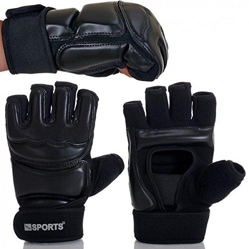 LCP Boxhandschuhe MMA UFC Kampfsport Taekwandoo Grapling Sparring Boxsack Punching Material Arts Eco Leder Premium Variante schwarz Größe S