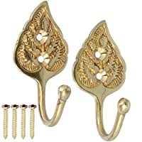 White Hinge Brass Wall Hook Pair - Leaf Curtain Tie Back 60mm
