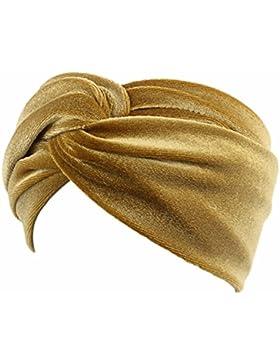 Turbante Hat Mujer,TININNA Diadema Turbante de Terciopelo Dorado Torsión Estampado Elástico Cinta Cabeza Para...