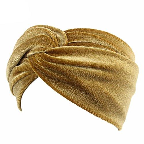 TININNA Foulard per capelli, in velluto, attorcigliato, copre le orecchie oro Taglia unica