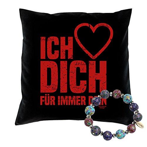 Soreso Design Romantisches Kissen Ich Liebe Dich + Schmuck Fimo Armband Geschenk Weihnachten Frauen Kissenfarbe: schwarz