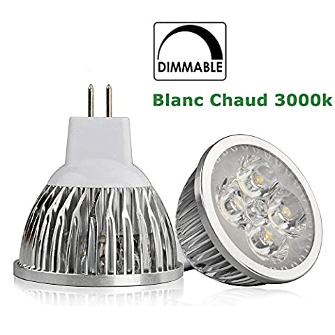6 X Ampoules LED GU5.3 MR16 12V Dimmable, 6W (Equivalent