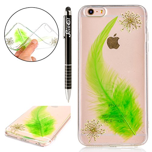 Custodia iPhone 6, iPhone 6S Cover Silicone Transparent, SainCat Cover per iPhone 6/6S Custodia Silicone Morbido, Shock-Absorption Custodia Ultra Slim Transparent Silicone Case Ultra Sottile Morbida G Verde