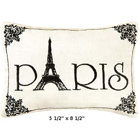 'Paris' - Small/Cute Embroidered ACCENT 'Pillow' (5 1/2' x 8 1/2') by C&F