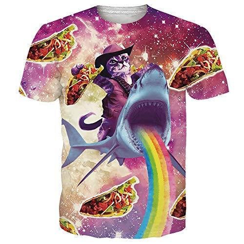 ren Halloween t Shirt 3D Printed Tintenfisch Kurzarm T-Shirt für Jungen ()