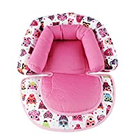 Infant Car Seat Insert, KAKIBLIN Baby Stroller Liner Head and Body Support Pillow, Infant Seat Pad Carseat Neck Support Cushion for Seat, Pushchair, Baby Carrier, Pram (Pink)