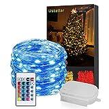 Ustellar RGB 10m 100 LED Lichterkette IP65 Wasserdicht Kupferdraht Fairy Light mit Fernbedienung, Batterienbetriebe Lichterkette (Batterie nicht enthält) 8 Helligkeit, 16 Farbe, 4 Farbewechsel Modi