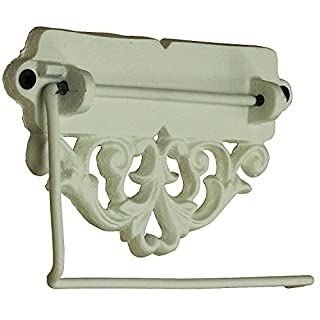 MACOSA SA05370 Vintage Klorollenhalter Antikweiß| Klopapier-Halter|Landhaus-Stil|Deko Badezimmer|Toilettenpapierhalter|WC Papierrollenhalter|Gusseisen