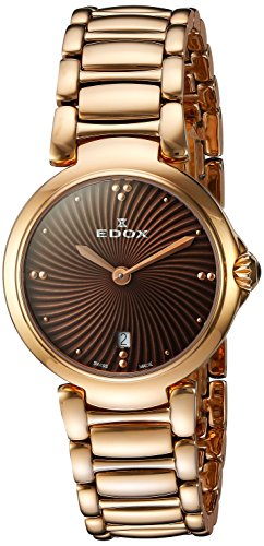 Edox Women's 57002 37RM BRIR LaPassion Analog Display Swiss Quartz Rose Gold Watch