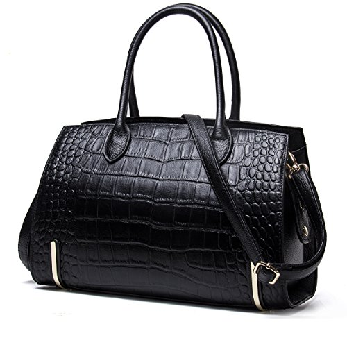 Contacts Frauen echtes Leder Crossbody Tasche Messenger Schultertasche Handtasche (Schwarz) -