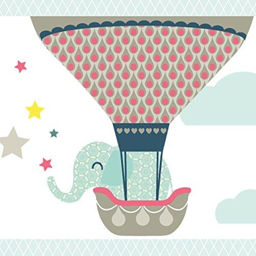 anna wand Bordüre selbstklebend HOT AIR BALLOONS - Wandbordüre Kinderzimmer / Babyzimmer mit Tieren in Heißluftballons versch. Farben -...