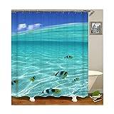 MaxAst Fisch Duschvorhang Anti Schimmel, Blau Badewanne Vorhang 90x180CM, Antibakteriell Wasserdicht mit Kunststoff Ringe Kein Rost