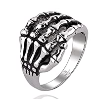 Lekima Ring Hand Bone Skeleton Skull Hand Claw Gothic Tribal Stainless Steel Halloween Jewellery Gift For Men #O (Gift Bag Included)