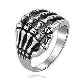 NYKKOLA 316L acciaio inossidabile gotico teschio mano artiglio anello Band per donne uomini taglia–S, acciaio inossidabile, 61 (19.4), cod. XGGMYR005-9