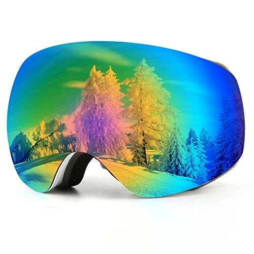 Occhiali da sci, protezione UV Protezione anti-nebbia staccabile occhiali da snowboard con ampio angolo (adulto cinghia bianca)