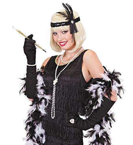 Set 4-teilig Haarband Kunst-Wimpern Zigarettenspitze Perlenkette Flapper Gatsby Goldene 20er Jahre Roaring Twenties ()