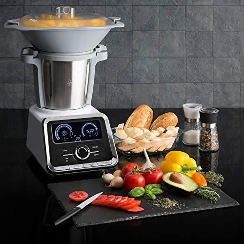 Klarstein GrandPrix - Robot de cocina, Batidora, Maquina de amasar, 500-1000W, Recipiente de acero inoxidable, 2,5L, Temperatura ajustable entre 30 y 120ºC, 12 velocidades, Acero / Blanco