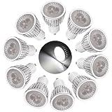 Sonline 10 X GU10 Bombilla Luz 3 LED 6W Regulable Alta Potencia Blanco Puro