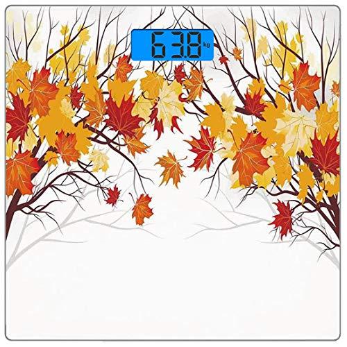 Precision Digital Body Weight Scale Herbstdekorationen Ultradünne Personenwaage aus gehärtetem Glas Genaue Gewichtsmessungen, Bild von kanadischen Ahornblättern im Herbst mit weichen Reflexionseffekte (Platte Kanadische)
