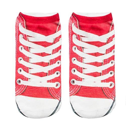 Feetures Low Cut Sock (Nicegift 3D Print Red Sneakers Socks Women Casual Socks Unisex Low Cut Ankle Socks 19.7 inch)