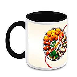 HomeSoGood Sweets of Rakhi White Ceramic Coffee Mug - 325 ml