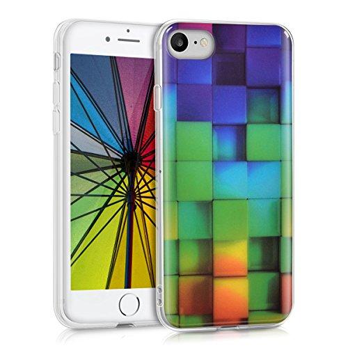 kwmobile Apple iPhone 7/8 Hülle - Handyhülle für Apple iPhone 7/8 - Handy Case in Mehrfarbig Grün Blau (Foto-würfel Für Iphone)