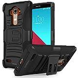 LG G4 Hülle - MoKo [Heavy Duty Serie] Outdoor Dual Layer Armor Case Handy Schutzhülle Ständer Schale Bumper mit Gürtelclip und Standfunktion für LG G4 5.5 Zoll Smartphone Andorid 2015, Schwarz