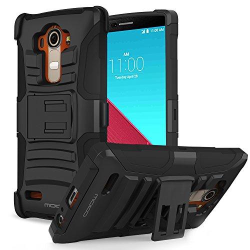 MoKo LG G 4 Funda - Holster Funda con Soporte y Girable Clip [Heavy Duty] Robusto Funda para LG G4 5.5 Pulgadas Android OS Smart Phone 2015 Release, NEGRO