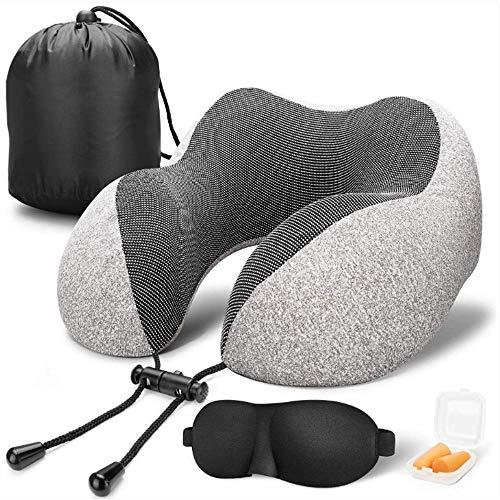 XIAOXIONG Reise-Kissen 100% Pure Memory Schaum Kissen Komfortabel Und Atmungsaktiv, Flugzeug Reise-Set Mit 3D Grau