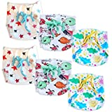 Superbottoms Super Nappy- Pack of 6 Printed- Soft, Organic Cotton Nappies for Newborn Babies with 100% Organic Cotton Padding (not Foam/Sponge) and with Gentle Elastics (Size 2)