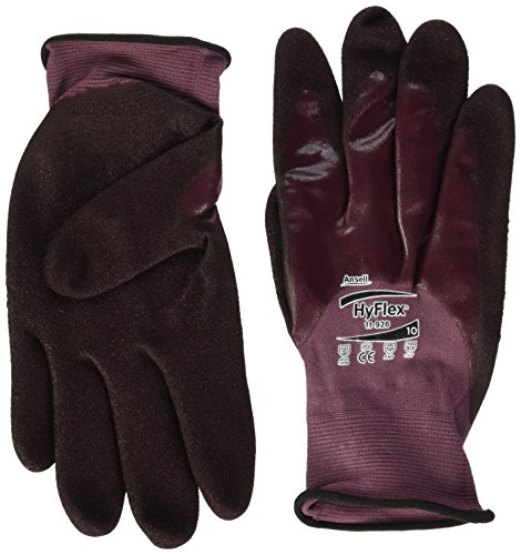 Ansell HyFlex 11-926 Öl abweisende Handschuhe, Mechanikschutz, Violett, Größe 10 (12 Paar pro Beutel) -