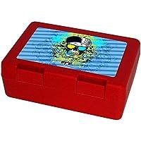 Preisvergleich für Eurofoto Brotdose mit Namen Efe und schönem Motiv mit Totenkopf für Jungen   Brotbox rot - Vesperdose - Vesperbox - Brotzeitdose mit Vornamen