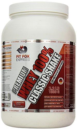 100% Premium Whey Protein (Fit Fox Express Premium Whey 100% Protein (Eiweißshake, Molkenprotein mit Dosierlöffel) Classic Vanille Cream, 1er Pack (1 x 1 kg) Dose)