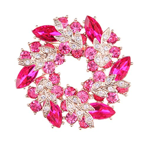 YSFL Noble Flower Pink Crystal Gold Tone Brooch Pin for Women Christmas Gift