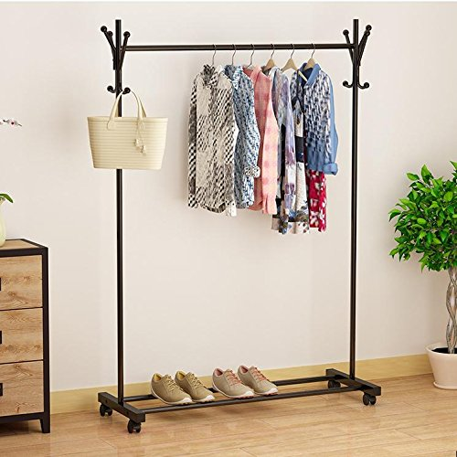 UIRIHUA Clothes Hanger/Landing/Landing/Folding/Indoor/Single Pole/Balcony Bedroom/Double Pole/Simple Mobile/Household/Lift/Airfoil Hanger/Hanger/Hanger,Coat Rack Version - Black (Coat Black Rack)