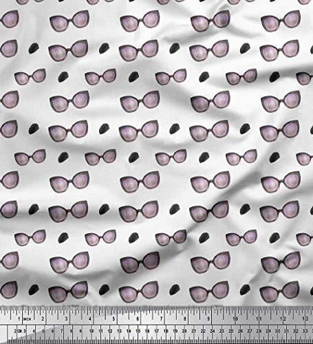 Soimoi Weiß Baumwoll-Voile Stoff Pinselstrich & Brille Mode Drucken Nahen Stoff 1 Meter 56 Zoll breit