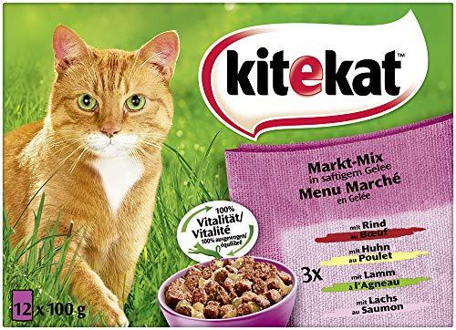 Kitekat Katzenfutter Markt-Mix in Gelee, 1er pack (1 x 12 x 100 g)