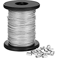 Vinyl Coated Picture Frame Hanging Wire, Stainless Steel Wire Spool with 20 Pieces Aluminum Crimping Loop Sleeve, Supports up to 110 Lbs (1.5 mm x 98 Feet)