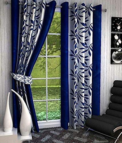 Inira Trendz Kolavari Polyester Window Curtain (Blue)