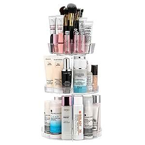 Jerrybox Schmink Aufbewahrung, 360 Grad Drehbarer Kosmetik Organizer, Praktisch für alle Make Up Zubehör (Turmmodell, Transparent)