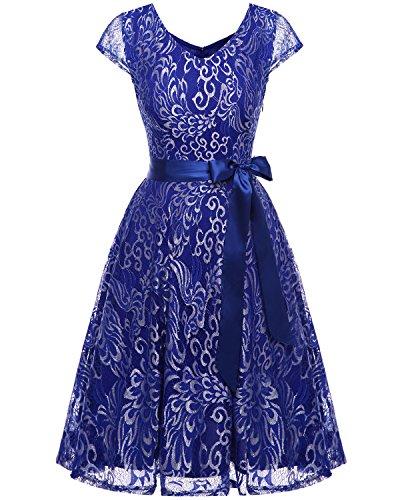 Bridesmay Damen Spitzenkleid kurz Brautjungfern Cap Ärmeln Cocktailkleid Abendkleider Royal Blue 2XL