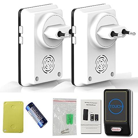 Saful EU Plug-in Wireless Door Bell Waterproof Touch Button 36 Chimes 1 Ourdoor Transmitter + 2 Indoor